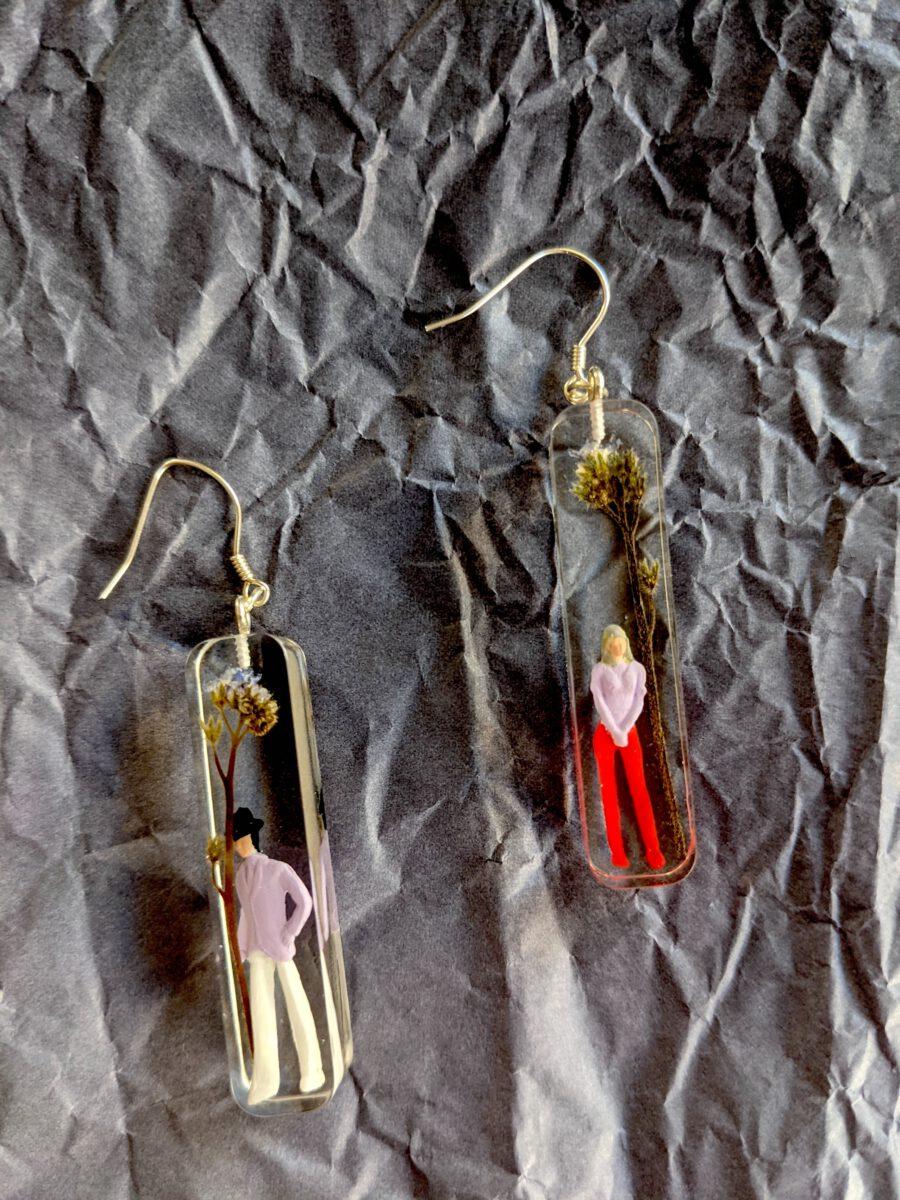 Handmade geniue flower earrings-Forget me not