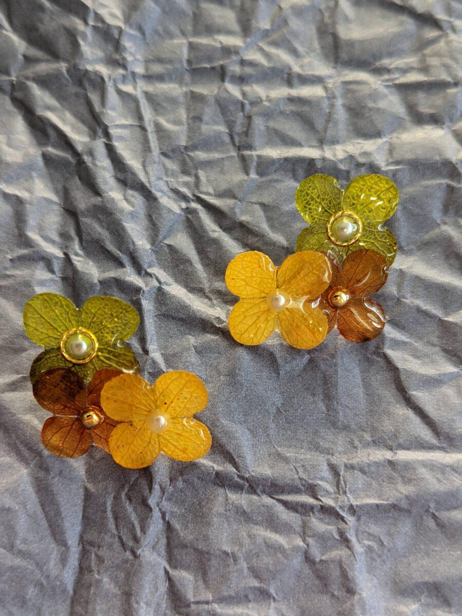 Handmade geniue flower earrings-Happiness